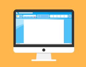 Tietokoneen näyttö on keltaisella pöydällä. Näytöllä on paperiarkki, jossa ei ole tekstiä. Näyttö on mustavalkoinen.